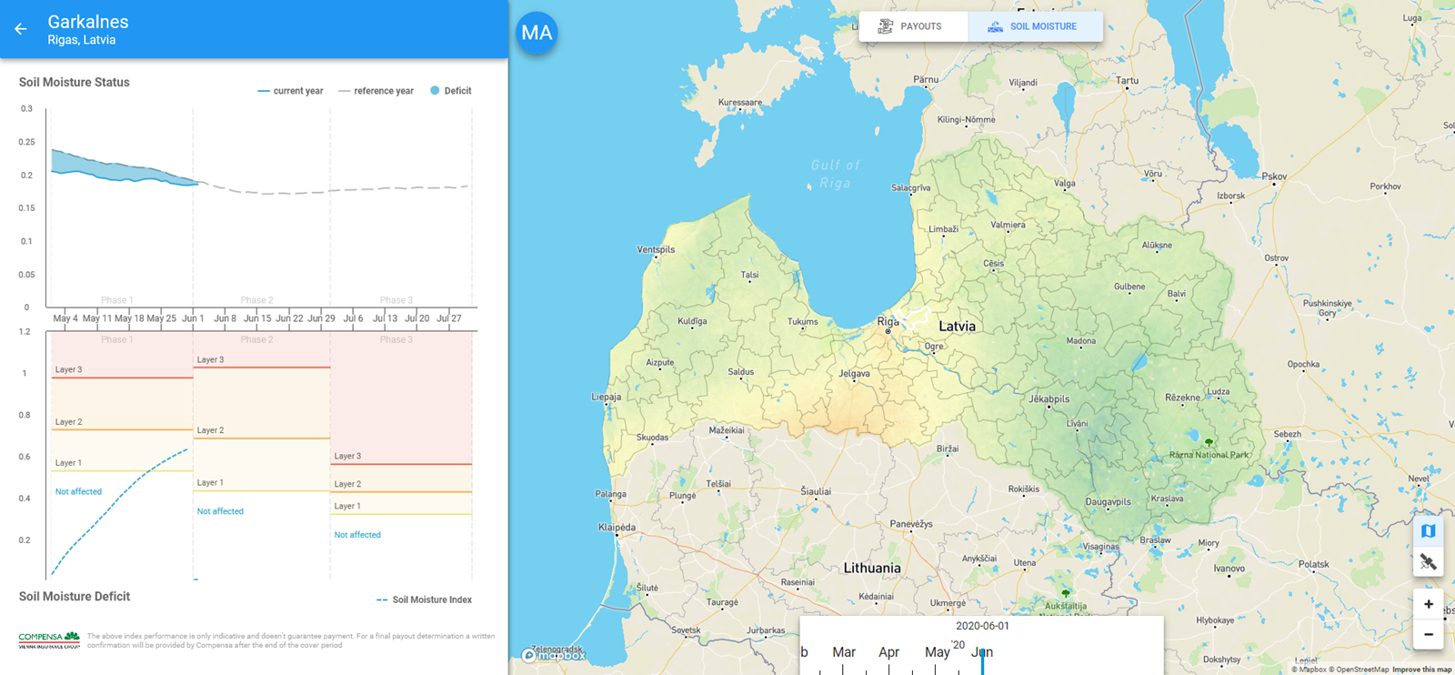 A map showing an example of soil moisture index in Latvia on Swiss Re opti-crop index tracker