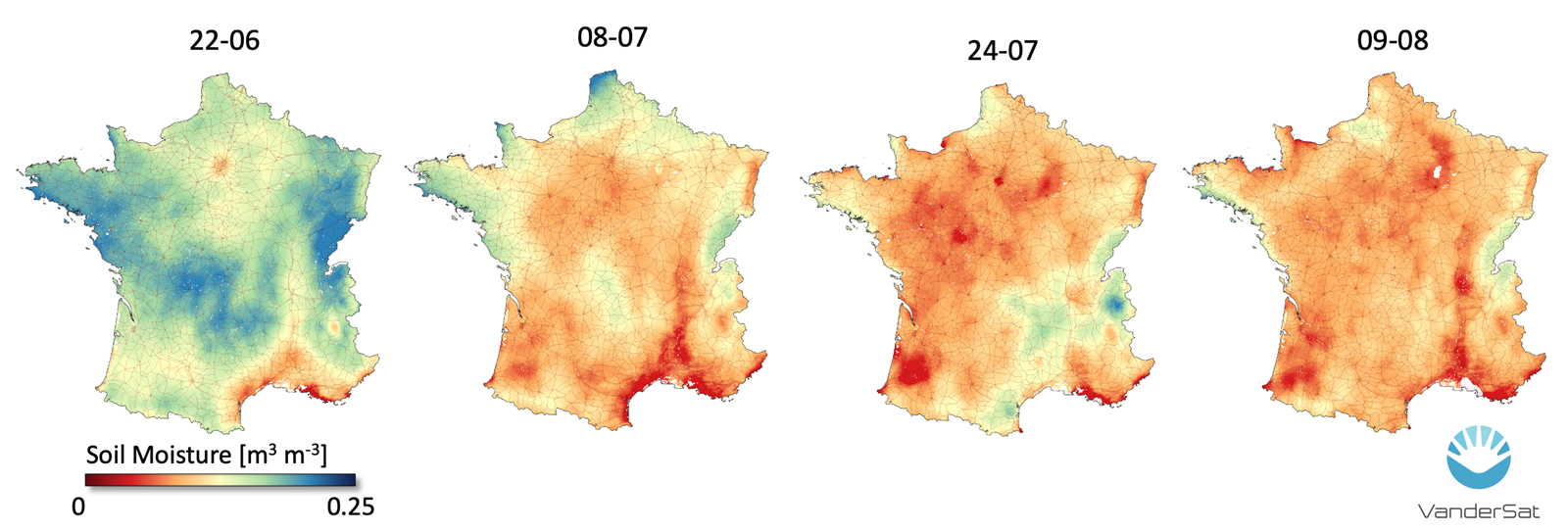 Heat map of France during 4 years.